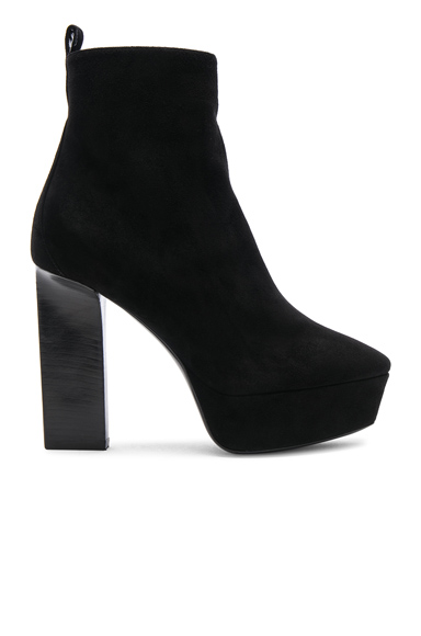 Saint Laurent Suede Vika Platform Boots in Black