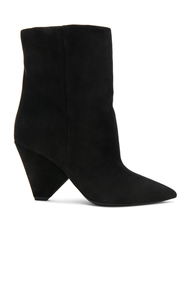 Saint Laurent Suede Niki Booties in Black