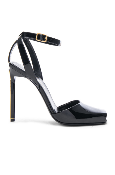 Saint Laurent Patent Leather Edie Heeled Sandals in Black