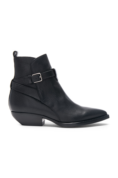 Saint Laurent Leather Theo Jodhpur Boots in Black