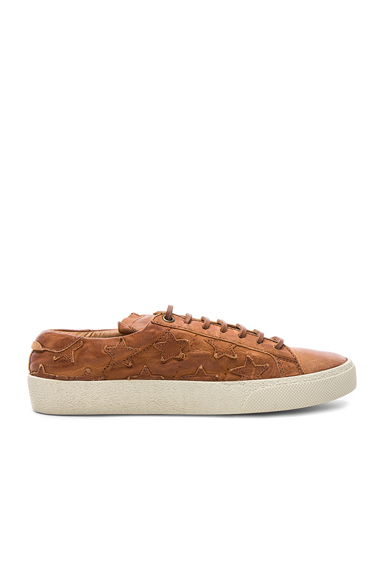Saint Laurent Leather Court Classic Star Sneakers in Brown