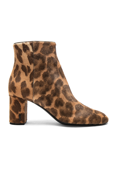 Saint Laurent Pony Hair Loulou Pin Boots in Brown, Animal Print
