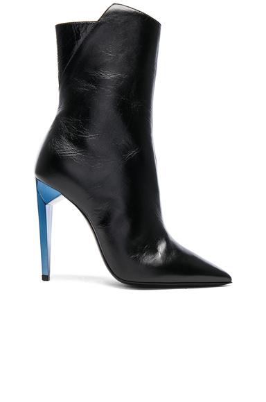 Saint Laurent Leather Freja Zip Booties in Black