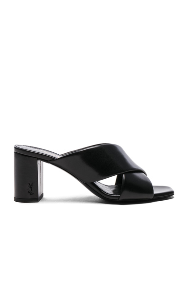 Saint Laurent Leather Loulou Pin Mules in Black