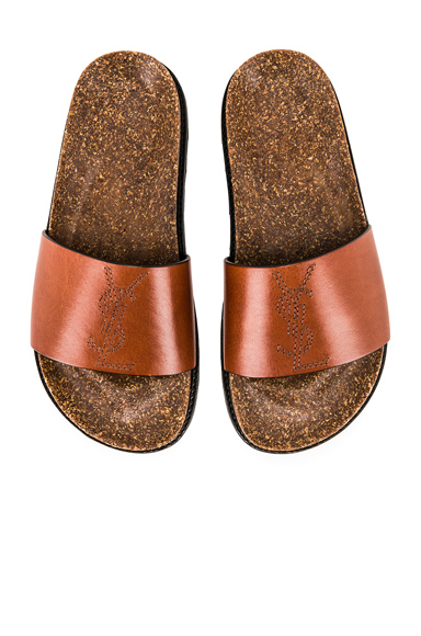 SAINT LAURENT | Saint Laurent Embroidered Leather Joan Slides In Brown. - Size 37 (Also In 35,36,38,39,40) | Goxip