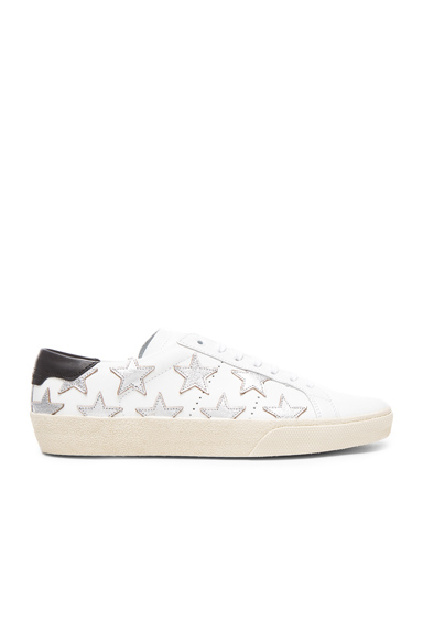 Saint Laurent Court Classic Star Leather Sneakers in White