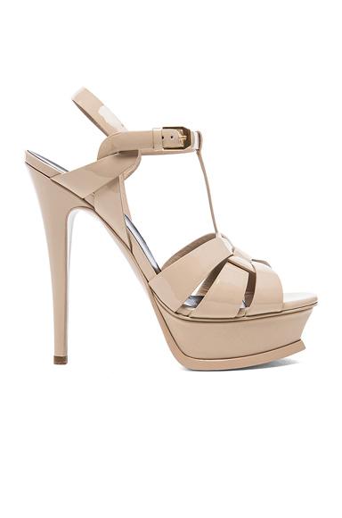 Saint Laurent Tribute Patent Leather Platform Sandals in Neutrals