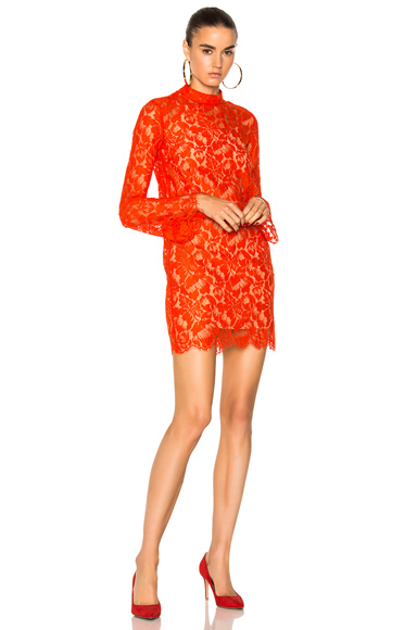 Stella McCartney Cayla Lace Mini Dress in Red