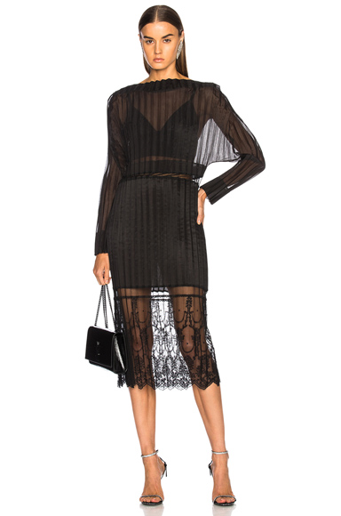 Photo of Stella McCartney Carey Cotton Mix Midi Dress in Black online womens dresses sales