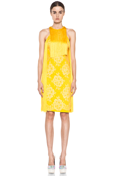 STELLA MCCARTNEY | Mix Cady Lace Fringe Dress in Citrus