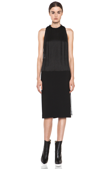 STELLA MCCARTNEY | Mix Cady Fringe Dress in Black