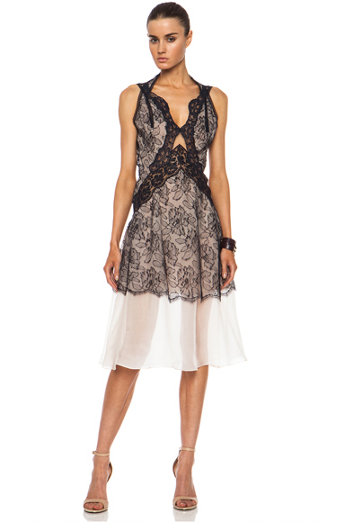 STELLA MCCARTNEY | Polyamide-Blend Lace Cut Out Dress in Ink