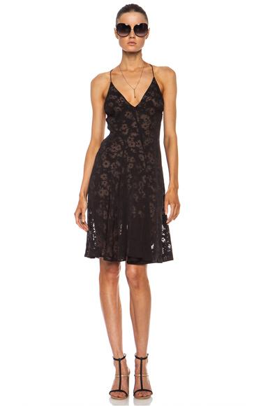 STELLA MCCARTNEY   Burnout Floral Rayon-Blend Dress in Espresso