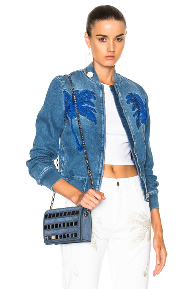 Stella McCartney Denim Bomber Jacket in Blue