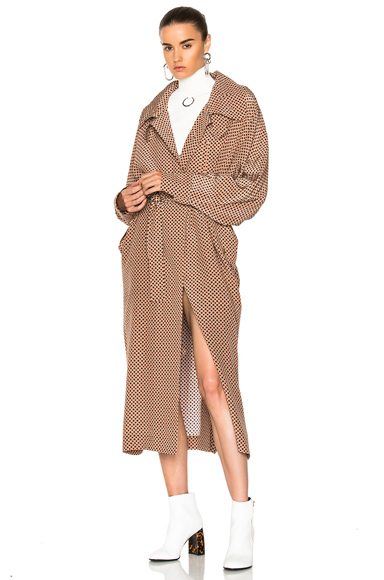 Stella McCartney Emily Long Coat in Geometric Print, Neutrals