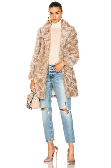 Stella McCartney Toti Faux Fur Coat in Neutrals
