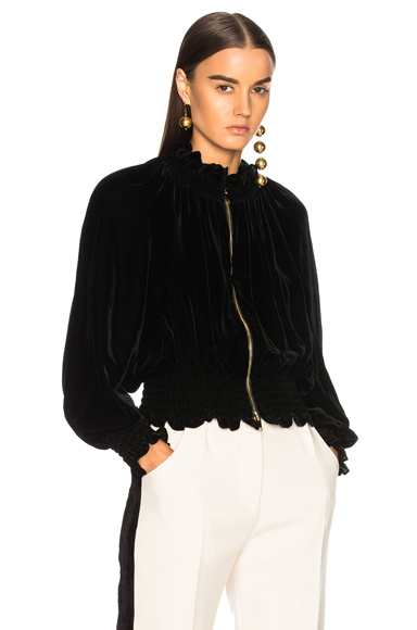 Stella McCartney Naomi Fluid Velvet Bomber Jacket in Black