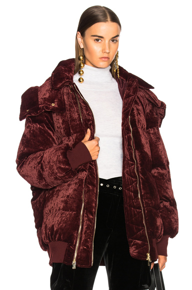Photo of Stella McCartney Stefani Fluid Velvet Parka in Red online womens jacket sales