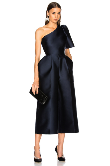 Stella McCartney Kallie Silk Mix One Shoulder Jumpsuit in Blue