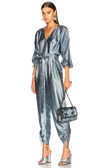 Stella McCartney Belted Jumpsuit in Blue, Metallics