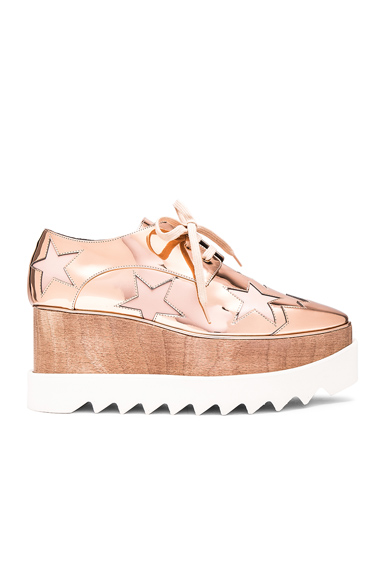 Stella McCartney Elyse Star Platform Shoes in Metallics, Geometric Print, Pink