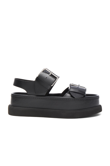 Stella McCartney Leather Buckle Sandals in Black