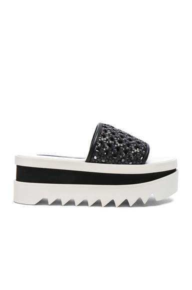 Stella McCartney Platform Slides in Black, White