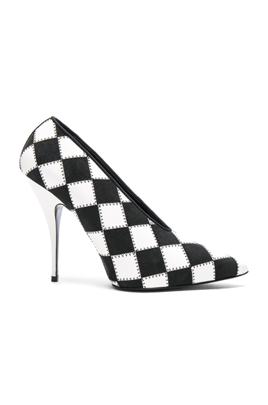 Stella McCartney Checkered Print Heels in Black, White, Checkered & Plaid