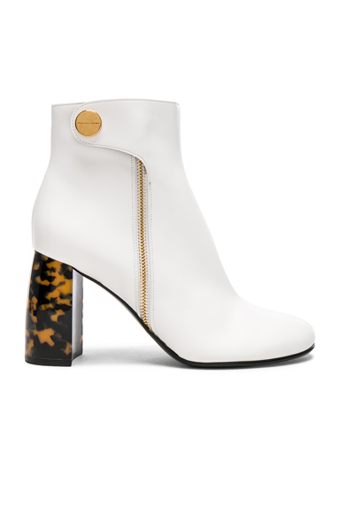 Stella McCartney Zip Ankle Boots in White, Animal Print