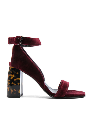 Stella McCartney Velvet Ankle Strap Heels in Red