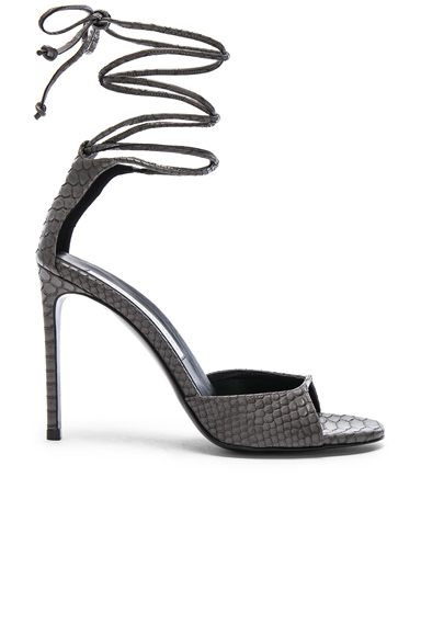 Stella McCartney Ankle Tie Heels in Gray, Animal Print