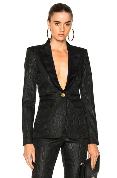 Smythe Velvet Peaked Lapel Blazer in Black