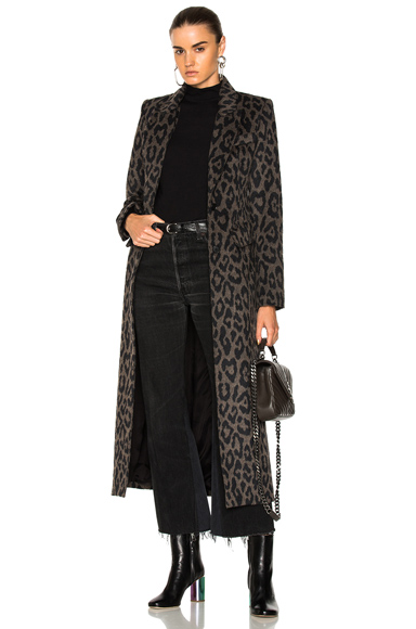 Smythe Brando Coat in Animal Print, Black, Brown