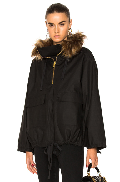 Smythe Anorak With Faux Fur in Black