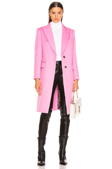 SMYTH & GIBSON | Smythe Peaked Lapel Overcoat In Pink. - Size 4 (Also In ) | Goxip