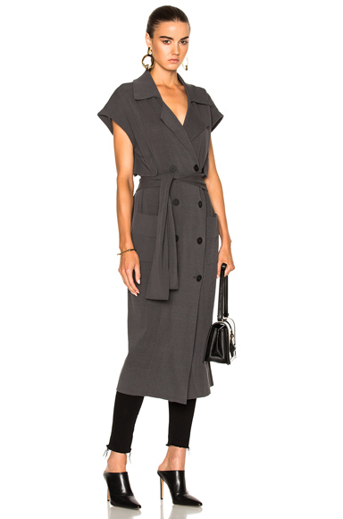 Soyer Marge Sleeveless Trench Coat in Gray