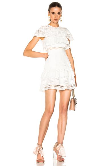 self-portrait Floral Broderie Mini Dress in White