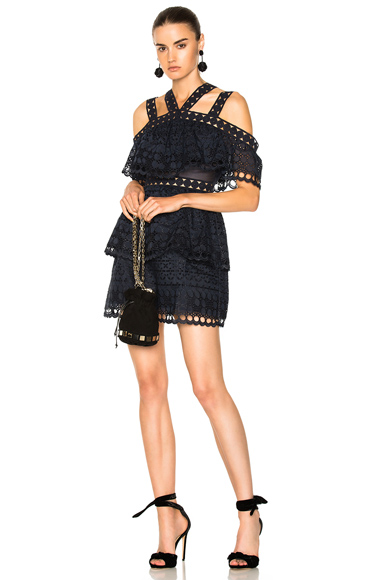 Photo of self-portrait Embroidered Tiered Mini Dress in Blue online womens dresses sales