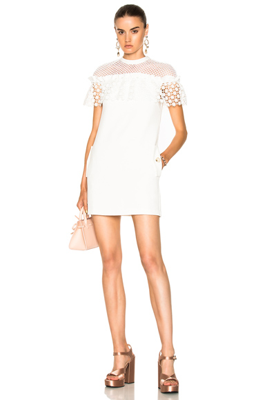 self-portrait Mixed Floral Frill Mini Dress in White