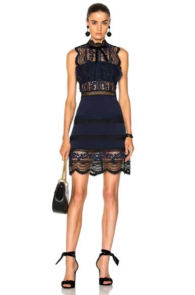 self-portrait Sleeveless Bellis Lace Trim Dress in Blue