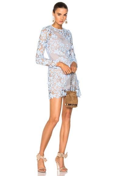 self-portrait 3D Floral Mini Dress in Blue