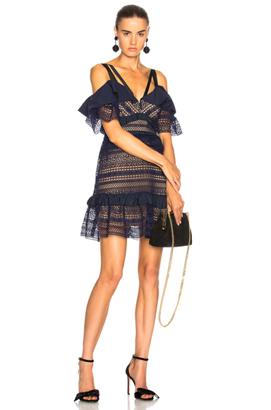 self-portrait Striped Paneled Lace Dress in Blue