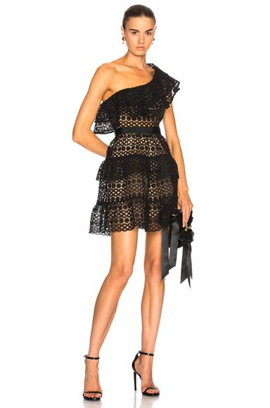 self-portrait Floral Chain Mini Dress in Black
