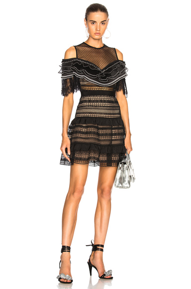 self-portrait Stripe Paneled Lace Dress in Black