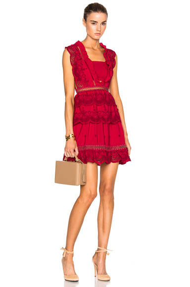 self-portrait Tiered Peplum Lace Dress in Red