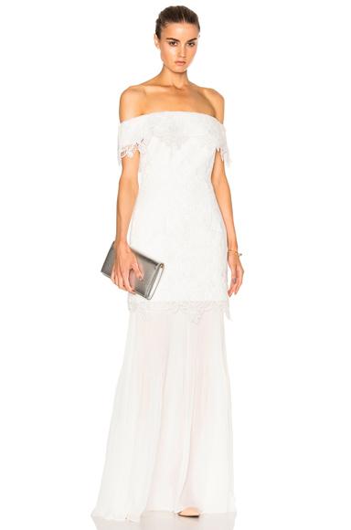 self-portrait Off Shoulder Bridal Dress in White