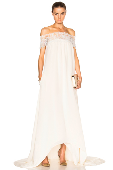 self-portrait Lace Detail Off Shoulder Wedding Dress in Neutrals