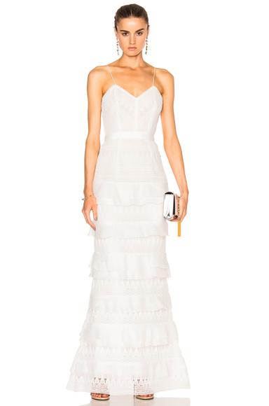 self-portrait Penelope Tiered Teardrop Lace Dress in White