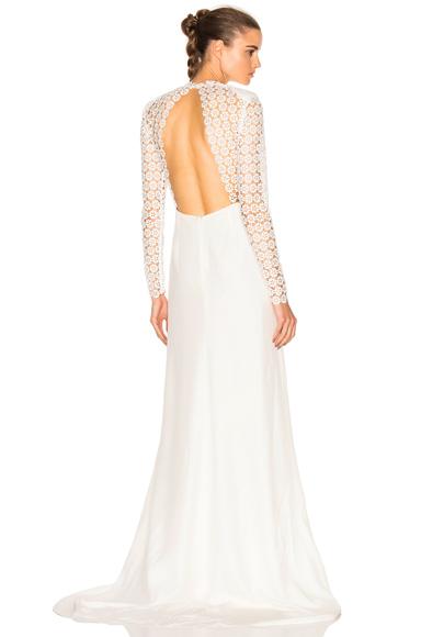 self-portrait Eva Backless Silk Wedding Dress in White