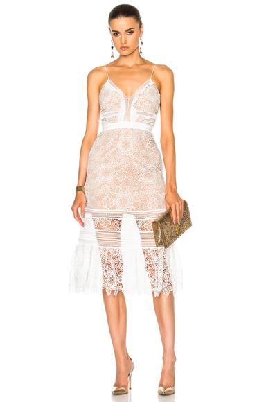 self-portrait Floral Blush Midi Dress in White